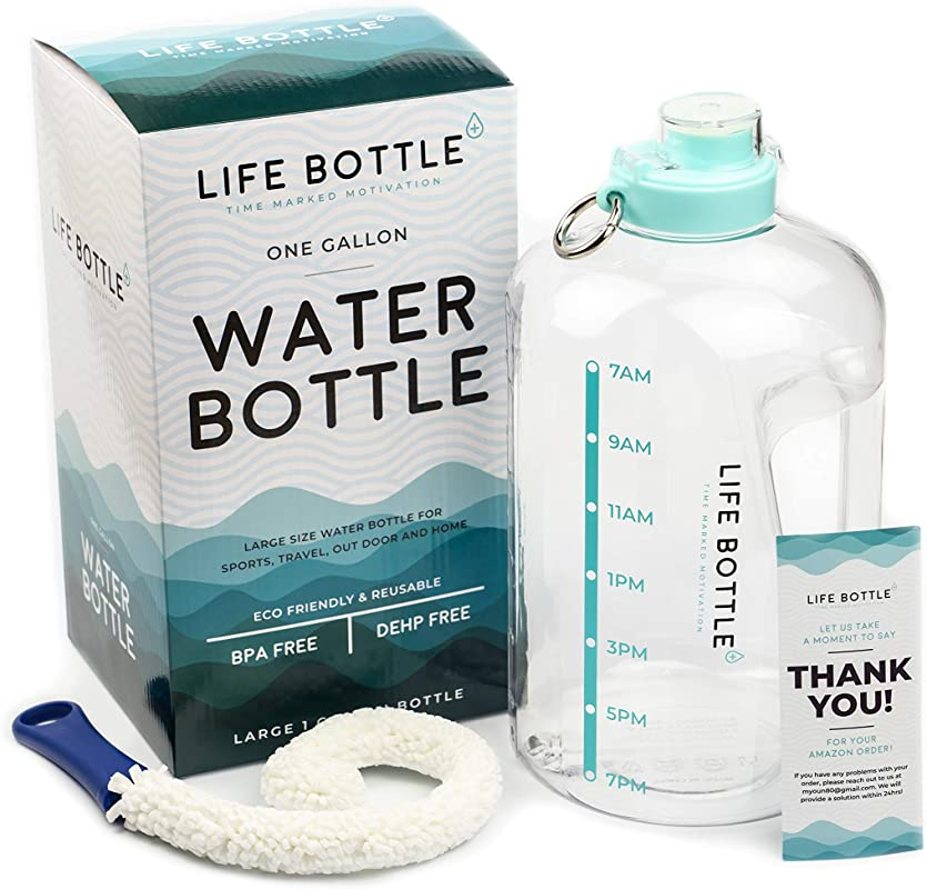 Life Bottle Time Marked Water Bottle 1 Gallon Water Bottle With Time Marker Extra Large Water Bottle Water Jug Helps You Drink More Water BPA Free Water Bottle With Leakproof With Flip Top