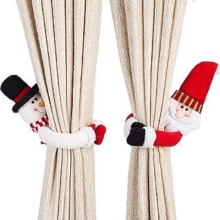 Ogrmar 2 Pack Christmas Curtain Buckle Doll Santa & Snowman Creative Curtain Tieback Hold Back Fastener,Christmas Wine Bot...