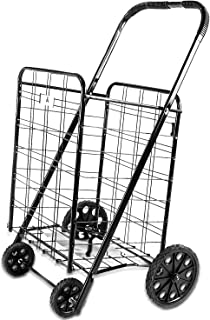 ATH Large Deluxe Rolling Utility / Shopping Cart - Stowable Folding Heavy Duty Cart with Rubber Wheels For Haul Laundry, Groceries, Toys, Sports Equipment, (Black, XL)