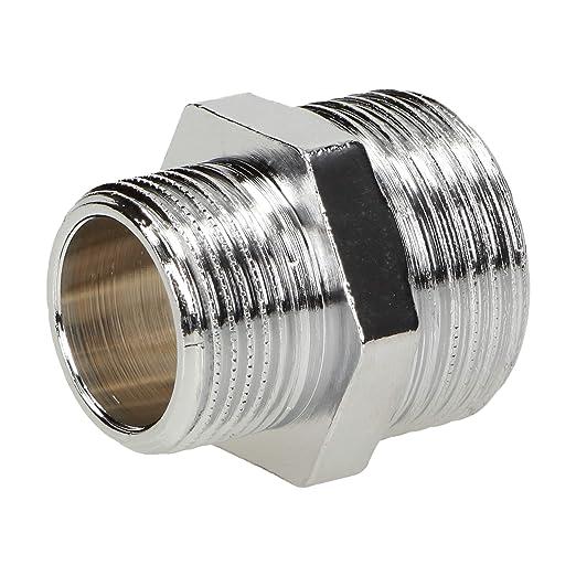 Verbindungsst/ück Nippel Fitting durchgehendes Au/ßengewinde Gewindefitting 1 x 40 mm Rohrnippel Messing vernickelt M