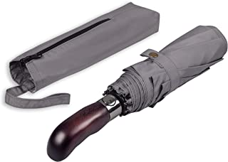 Balios Prestige Travel Umbrella, Real Wood Handle, Auto Open & Close, Vented Windproof Double Canopy, Designed in UK