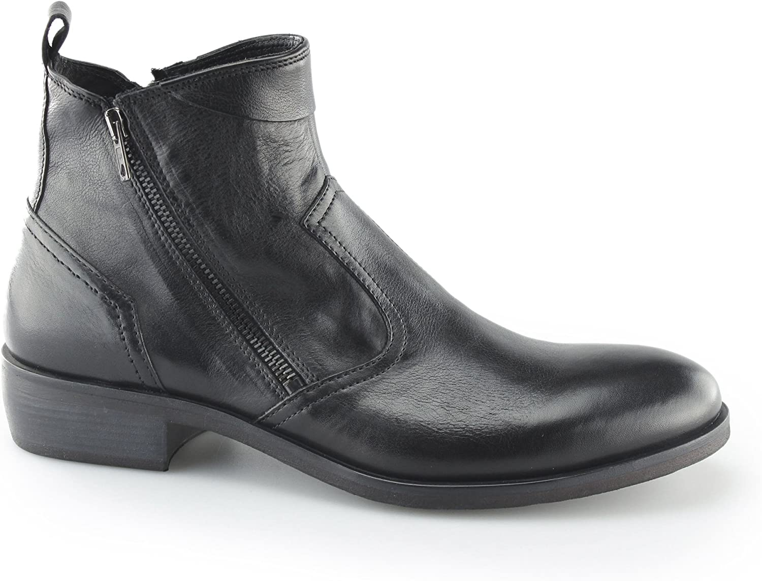 Machete Weston Mens Smooth Leather Zip Up Up Up Vintage Look Heeled Ankle Boots svart  spara på clearance