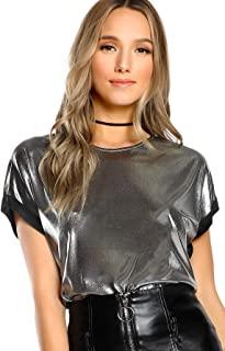 SheIn Women's Casual Short Sleeve T Shirts Metallic Top Crewneck Shiny Tees