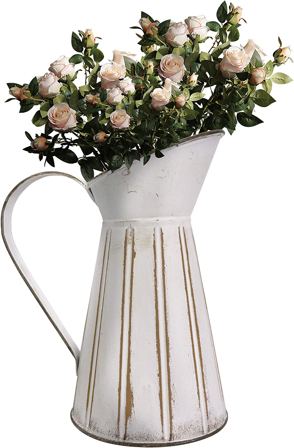 Soyizom Shabby chic Rustic Pitcher Vase French Metal Milk Jug Country Farmhouse Christmas Decorative Jug Pitcher Primitive Tin Watering Can Jug Vase Flower Holder for Living Room Kitchen Decor,Pitcher
