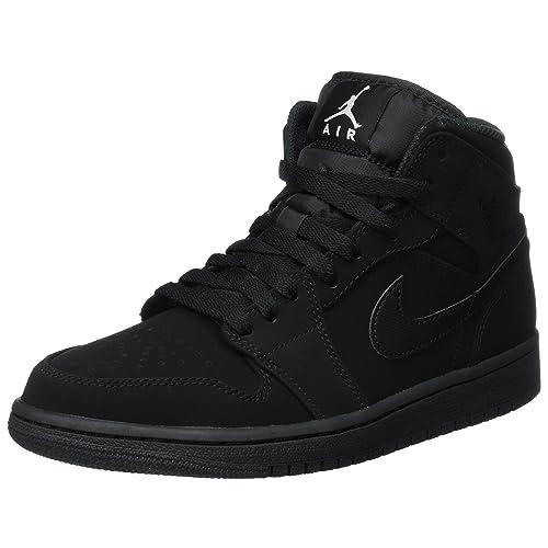 91e76593422bdf Nike Men s Air Jordan 1 Retro Mid Basketball Shoe Black White-Black