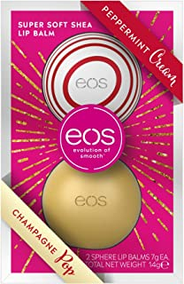 EOS Winter Edition Duo Set Lip Balm Sphere Box: Peppermint Cream & Champagne Pop, cuidado de labios hidratante, idea de regalo para Navidad, juego de 2