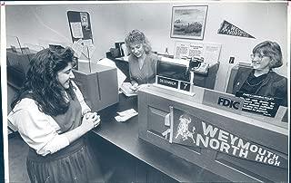 Vintage Photos 1989 Press Photo Historic Weymouth North High School Bank Anita Crisafulli 6x10