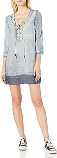 Michael Stars Women's Linen Denim Tencel Raw Hem Lace Up Dress