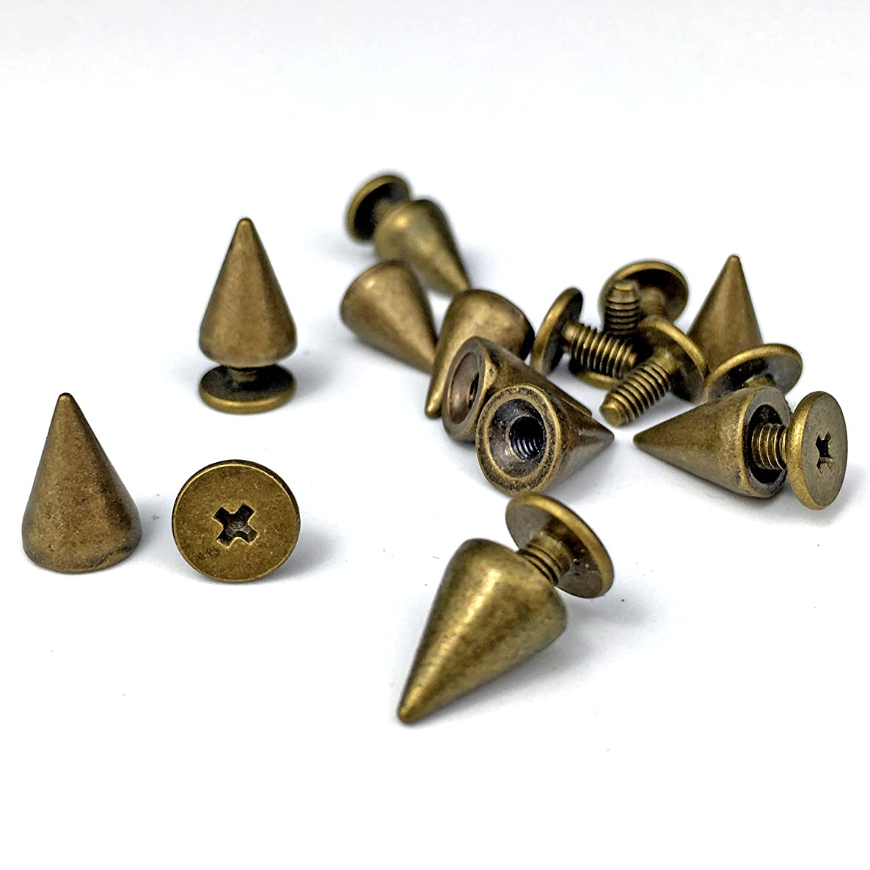 150pcs/set 9.5mm Cone Spikes Screwback Studs DIY Craft Cool Rivets Punk (Bronze)