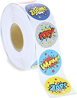 Blue Panda 1000-Count Superhero Sticker Roll, Kids Party Supplies, 1.5 Inches