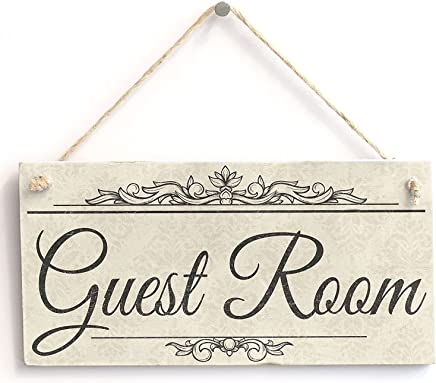 """Guest Room - Handmade Shabby Chic Wooden Sign/Plaque Wooden Hanging Sign 8"""" X 12"""""""