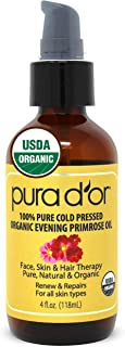 PURA D'OR Organic Evening Primrose Oil 100% Pure Cold Pressed w/Natural Essential Fatty Acids & Antioxidant Rich - Moistur...