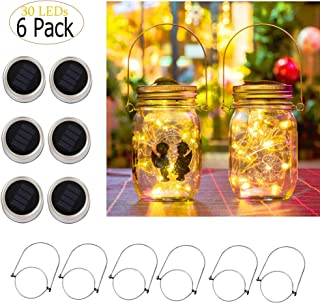 Ricky Solar Mason Jar Lights, 6 Pack 30 Led String Fairy Star Firefly Jar Lids Lights, Jars Not Included, Best for Mason Jar Decor,Great Outdoor Lawn Decor for Patio Garden, Yard (Warm White)