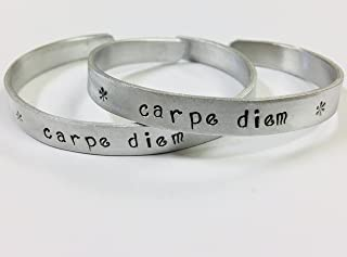 Carpe Diem, Seize the Day, inspirational quote handstamped cuff bracelet