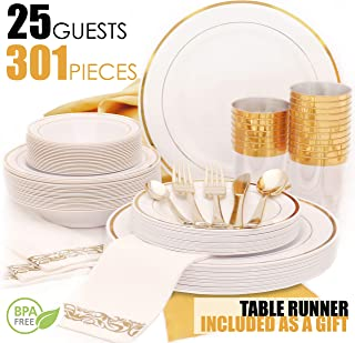Earth's Dreams 25Guest Gold Disposable Plates [301 Pcs], Gold Dinnerware set, Gold Rim Wedding Party Plastic Plates, Gold Silverware Dinner & Dessert Plates,Bowls,Napkins,Cutlery,Cups,1 Table Runner