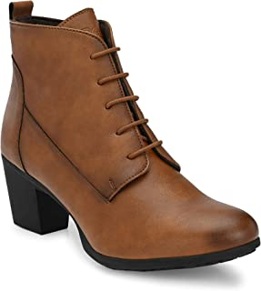 Delize Tan Mid Heel Ankle Boots for Women's