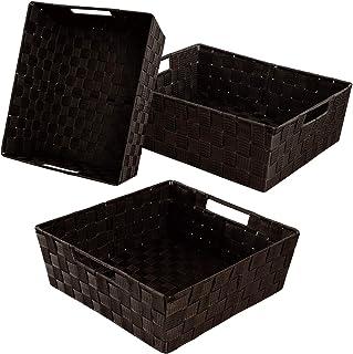 Lot de 3 paniers de rangement pour étagère de salle de bain, étagères, bureau, panier de rangement avec poignées en tissu ...