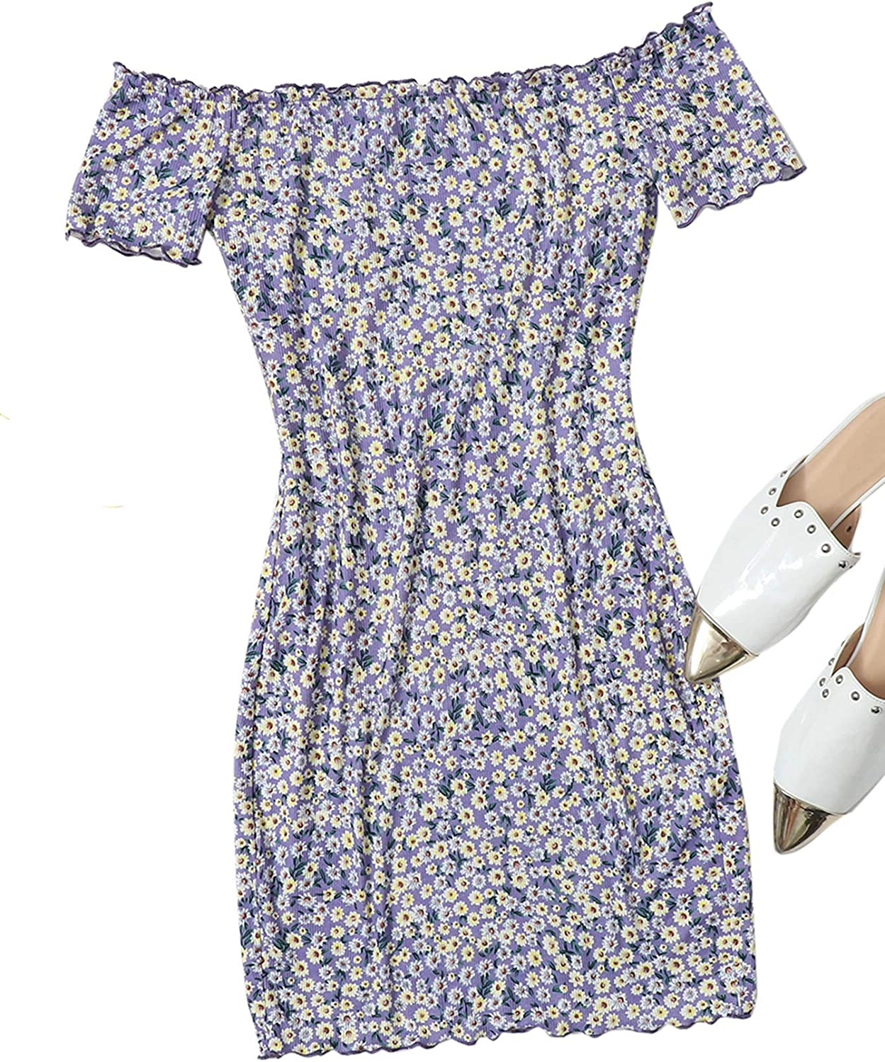 Floerns Women's Casual Ditsy Floral Summer Bodycon Off The Shoulder Dress