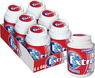 Extra Strawberry Flavour Chewing Gum Bottle, 6 x 64g