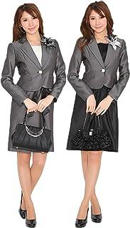 (ブティックユリア) Boutique Yuria フォーマル3点スーツ ワンピース2種類 グレー ブラック 7号9号11号
