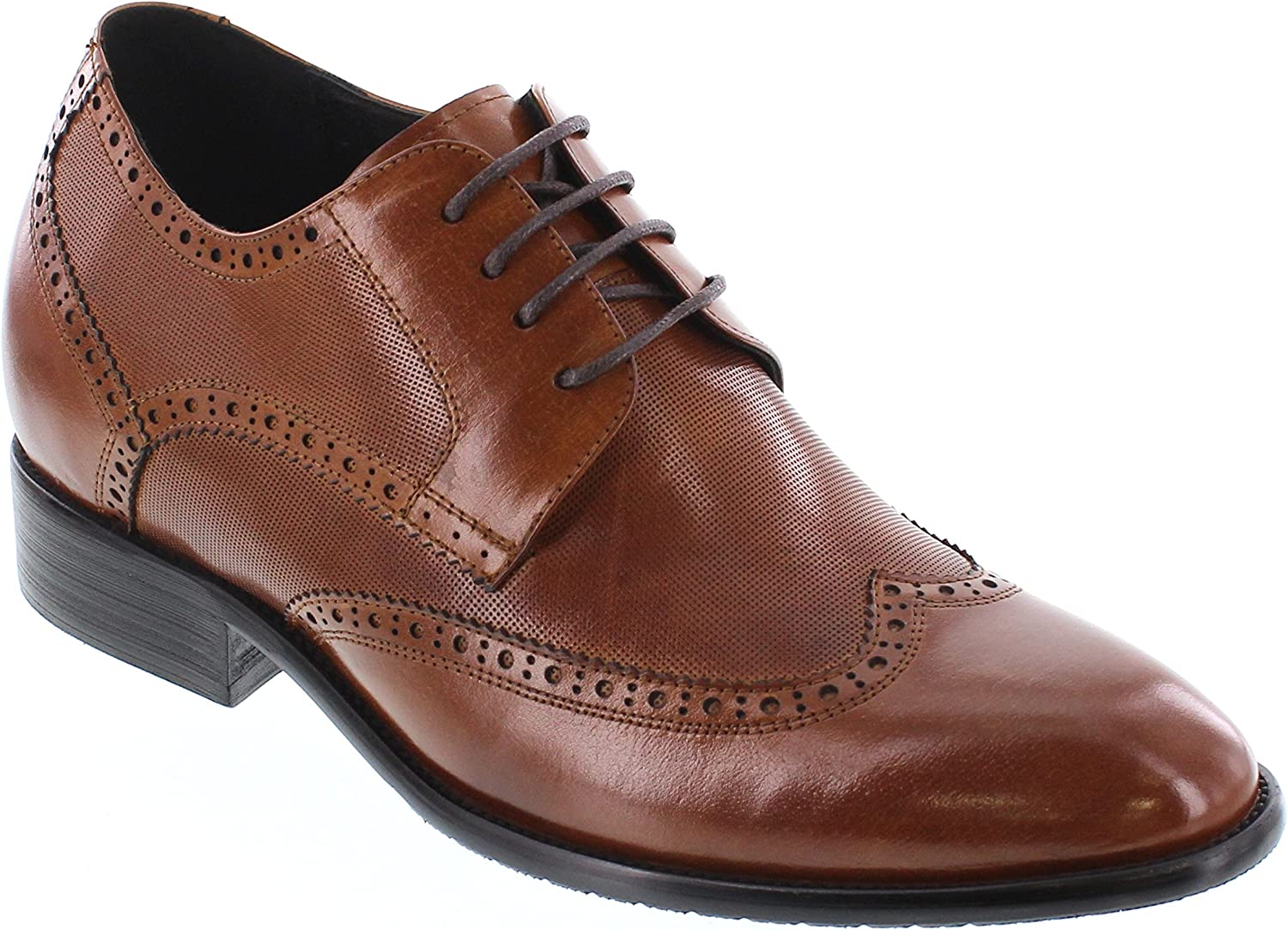 CALTO Men's Invisible Height Increasing Elevator Shoes - Antique Brown Premium Leather Wing-tip Lace-up Formal Oxfords - 2.8 Inches Taller - Y1005