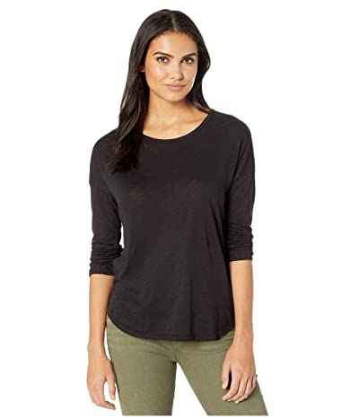 Splendid Zander Long Sleeve Cotton Modal Slub Easy Crew Tee (Black) Women