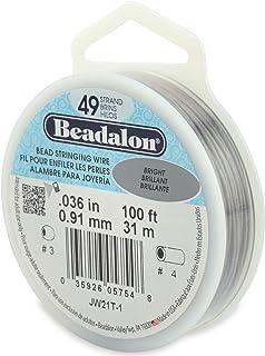 "Beadalon 49-Strand 0.036"" (0.91 mm) 100 ft (30.5 m) Bright Bead Stringing Wire,"