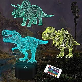 Regalos de dinosaurio, luz nocturna 3D para niños (3 patrones) con control remoto regulable que cambia de 16 colores, regalos de cumpleaños de Navidad para niños, niñas y niños