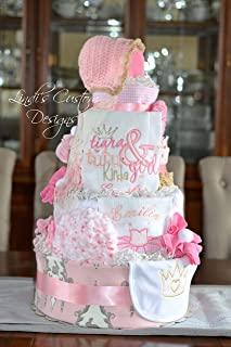 Tutu Tiara Embroidered Diaper Cake