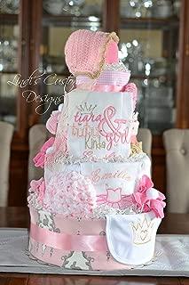 Tutu Tiara Embroidered Diaper Cake