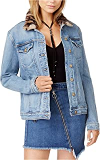 Joe's Jeans Denim Faux-Fur Collar Boyfriend Jacket M