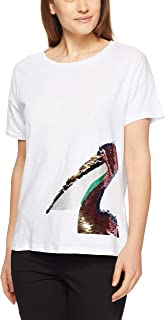 French Connection Women's Pelican FACE TEE, Summer White/Multi
