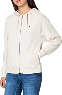Tommy Hilfiger Oversized Zip-Through Hoodie LS Sudadera con Capucha, Blanco, XS para Mujer