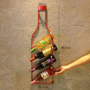LBYMYB Wine Bottle Racks  Restaurant Wall Pendant Bar Cafe  Red  86 5x24 5cm  Shelf  Color Red