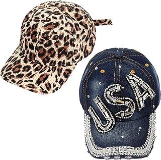 PHALIN Baseball Cap for Women Men Leopard Hat Denim Cotton Dad Hat with Crystal USA
