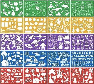 HQdeal 20pcs Pochoirs de Dessin d'Enfant Pochoir Peinture Réutilisable en Plastique Gabarits de Peinture Pochoir de Noël A...