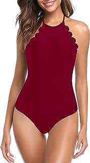 Mujer Halter Bañador Traje de Baño Relleno Encaje Bikini Monokini una Pieza
