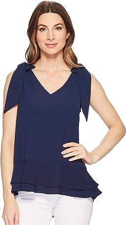 Short Sleeve V-Neck Layered Blouse