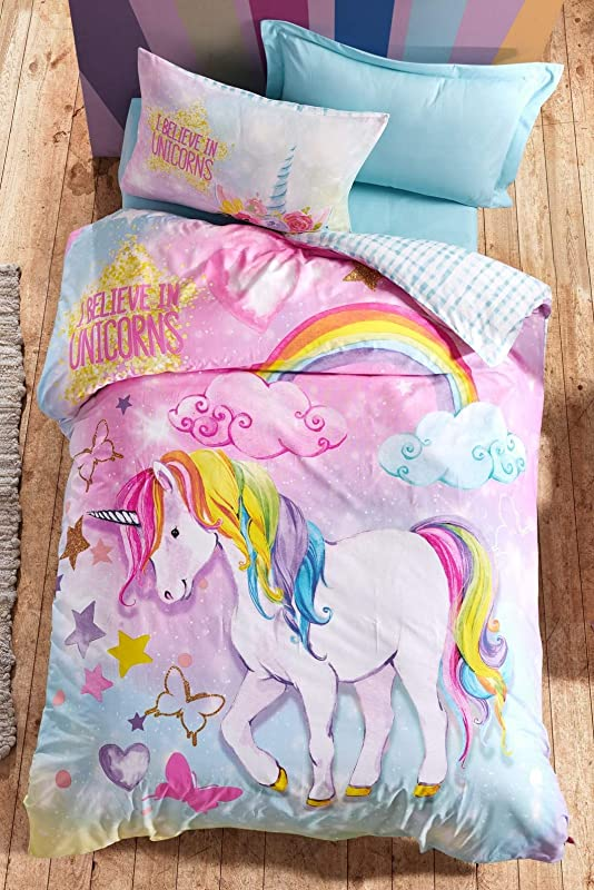 OZINCI 100 Cotton Unicorn Bedding Set I Believe In Unicorns Themed Single Twin Size Duvet Cover Set Girls Bed Set Kids Bedroom 3 Pieces
