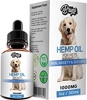 Happy Bruno 1000mg Hemp Oil for Dogs & Pets - Pain Relief, Arthritis, Hip and Joint, Seizures, Stress, Anxiety & Aggression - Calming, Organic, Natural, Dietary Supplement, Apply to Treats