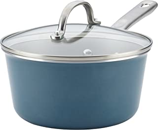 Ayesha Curry 10751 Home Collection Nonstick Sauce Pan/Saucepan with Lid, 3 Quart, Blue