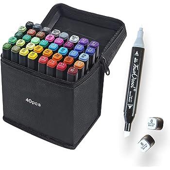 40 Colores Marker Pen Set Dibujo Rotulador Animación Boceto Marcadores Set con Estuche de Transporte para Dibujar Colorear Resaltar y Subrayar (40 Pcs): Amazon.es: Hogar