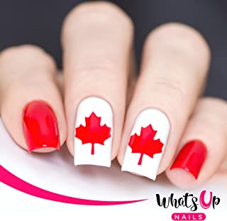 Whats Up Nails - Canadian Flag Vinyl Stencils for Nail Art Design (2 Sheets, 40 Stencils Total)