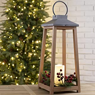Glitzhome Wooden Metal LED Pillar Decorative Hanging Candle Lanterns with 3 Changeable Wreathes (Spring/Fall/Christmas), 1...