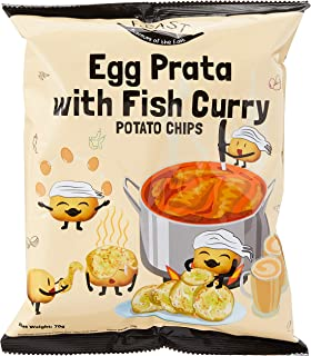 F.EAST Potato Chips Carton, Egg Prata with Fish Curry, 70g (Pack of 24)
