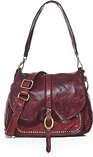 Campomaggi Women's Medium Leather Studded Shoulder Bag Red