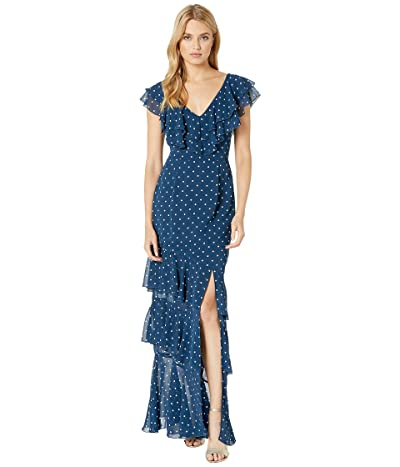 WAYF Hailey Ruffle Midi Dress (Navy Polka Dot) Women