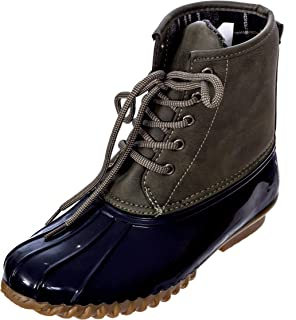 Charles Albert Women's Lace Up Two Tone Combat Style Mid-Calf Rain Duck Boots