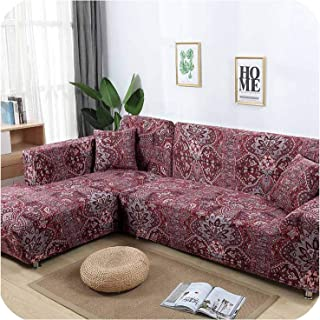 L Shaped Sofa Cover Elastic Blue Sofa Covers for Living Room Copridivano Couch Cover Sofa slipcovers for armchairs 1 4 Seater,Color 13,3seater and 3seater