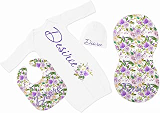 New Baby Girl's White Purple Floral Personalized Infant Gown Coming Home Outfit